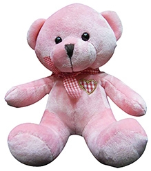 Soft Buddies Cute Bear With Bow Soft Toy - Pink