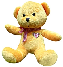 Soft Buddies Cute Bear With Bow Soft Toy - Yellow