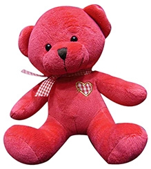 Soft Buddies Cute Bear With Bow Soft Toy - Red