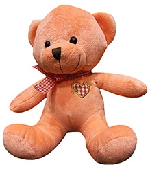 Soft Buddies Cute Bear With Bow Soft Toy - Peach