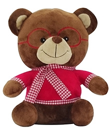 Soft Buddies Bear With Red Glass Soft Toy - Brown
