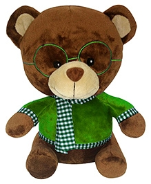 Soft Buddies Bear With Green Glass Soft Toy - Brown
