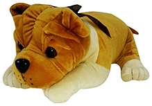 Soft Buddies Lying Bull Dog Soft Toy Golden Brown - Medium