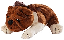 Soft Buddies Lying Bull Dog Soft Toy Dark Brown - Medium
