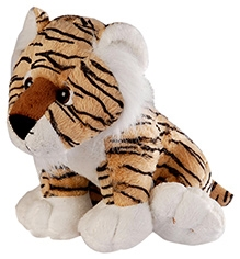 Soft Buddies Wild Animal Tiger Soft Toy Brown - Small - 6 X 9 X 7 Inches