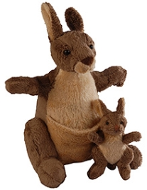 Soft Buddies Kangaroo With Baby Soft Toy - Brown