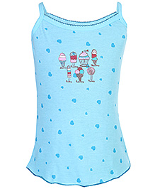 Sublime Singlet Heart And Ice Cream Printed Slip - Blue