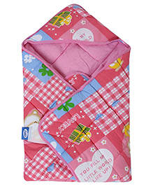 Littles Hooded Wrapper Teddy Print - Pink