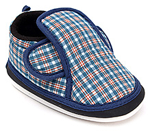 Littles Musical Booties Checks Print With Velcro Closure - Blue