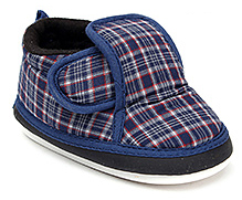 Littles Musical Booties Checks Print With Velcro Closure - Navy Blue