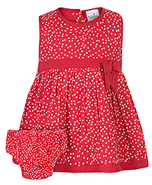 Babyhug Sleeveless Frock With Bloomer Red - Polka Dot Print