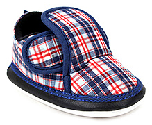 Littles Musical Booties Checks Print With Velcro Closure - Blue and Orange