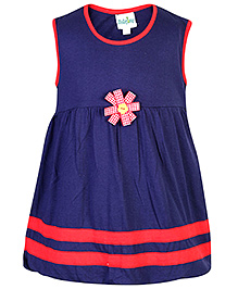 Babyhug Sleeveless Frock Navy Blue - Flower Motif