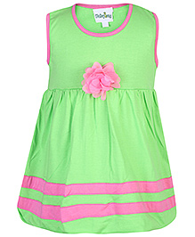 Babyhug Sleeveless Frock Green - Rose Flower Motif