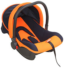 Fab N Funky Baby Car Seat Cum Carry Cot With Rear Facing - Orange And Navy Blue - All Over 65 X 42 X 50 Cm