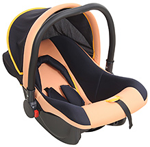 Fab N Funky Baby Car Seat Cum Carry Cot With Rear Facing - Peach And Navy Blue - All Over 65 X 42 X 50 Cm