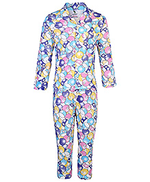 Cucumber Full Sleeves Night Suit Numbers Print - Multi Colour