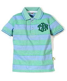 Tippy Half Sleeves Collar Neck T-Shirt - Stripes Pattern Print