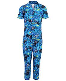 Cucumber Half Sleeves Night Suit Batman Print - Blue