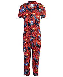 Cucumber Half Sleeves Night Suit Batman Print - Red