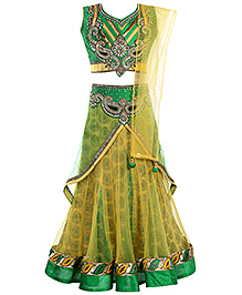 Babyhug Choli And Lehenga Set - Green
