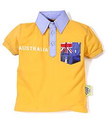 Tippy Half Sleeves Collar Neck T-Shirt - Yellow