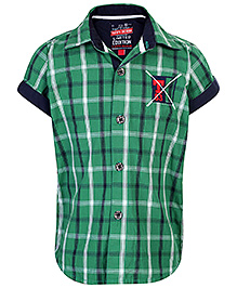Tippy Denim Half Sleeves Shirt Checks Pattern Print - Green