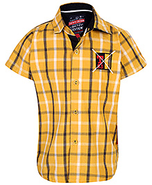 Tippy Denim Half Sleeves Shirt Checks Pattern Print - Yellow