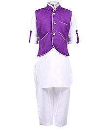 Babyhug Full Sleeves Kurta With Pathani And Jacket - Purple And White