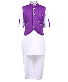 Babyhug Full Sleeves Kurta With Pathani And Jacket - Purple And White