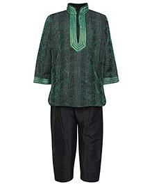 Babyhug Full Sleeves Pintex Kurta With Pathani - Green And Black