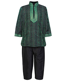 Babyhug Full Sleeves Pintex Kurta With Pathani - Green And Black