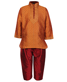 Babyhug Full Sleeves Pintex Kurta With Pathani - Rust And Maroon