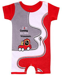 Babyhug Short Sleeves Romper Vehicle Print - Red And White