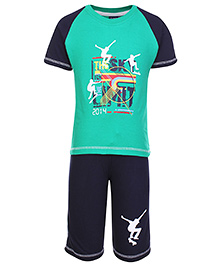 Taeko Half Sleeves Printed T-Shirt And Shorts Set - Green And Navy Blue
