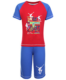 Taeko Half Sleeves Printed T-Shirt And Shorts Set - Red And Royal Blue