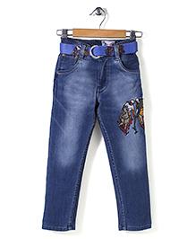 New York Polo Academy Full Length Jeans With Belt - Light Blue