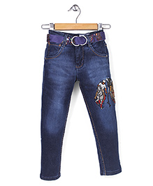 New York Polo Academy Full Length Jeans With Belt - Medium Blue