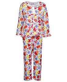 Cucumber Full Sleeves Night Suit Flower Print - Red