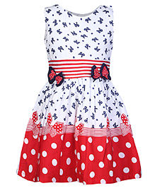 Babyhug Frock With Polka Dot Print - Red
