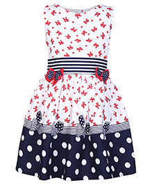 Babyhug Frock With Polka Dot Print - Blue