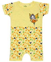 Babyhug Short Sleeves Romper Flowers Print - Yellow