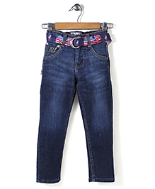 New York Polo Academy Full Length Jeans With Belt - Blue