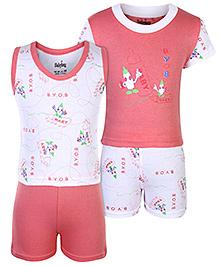 Babyhug 4 Piece Set - White And Pink