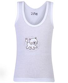 Sublime Sleeveless Vest Cat Print - White