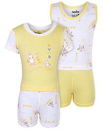 Babyhug 4 Piece Set - White And Yellow