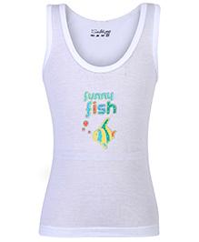 Sublime Sleeveless Vest Funny Fish Print - White