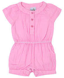 Babyhug Short Sleeves Romper - Light Pink