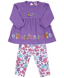 Cucumber Full Sleeves Frock And Leggings Flower Print - Purple