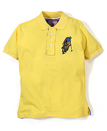 New York Polo Academy Half Sleeves T-Shirt With Logo - Yellow